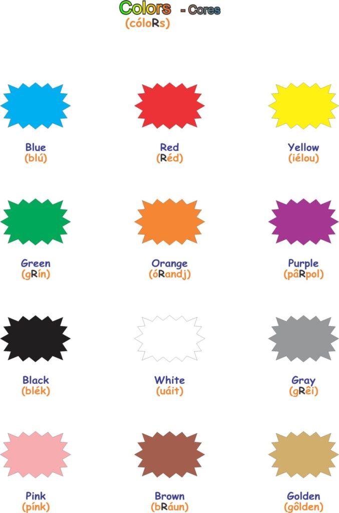 cores em inglês